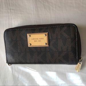Michael Kors Brown Zip Wallet